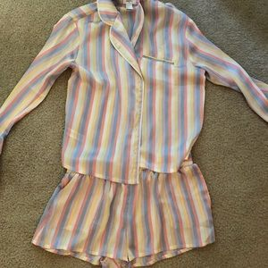 Satin pajama set, multicolored